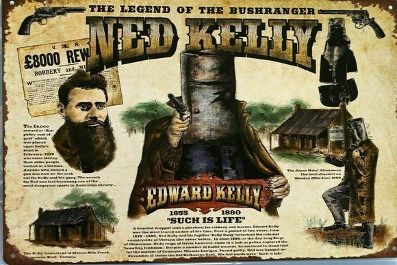 Rustic Ned Kelly Wanted Poster new tin metal sign MAN CAVE