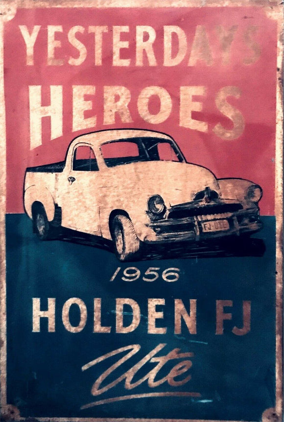 Rustic Yesterdays Heroes new tin metal sign MAN CAVE