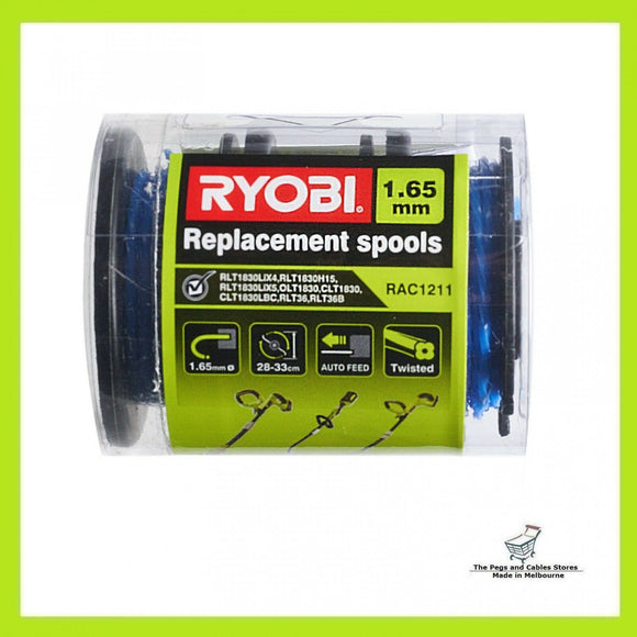 Ryobi Line Trimmer Spool And Line 3 Pack - 1.65mm Twist Line Suits 18v and 36v