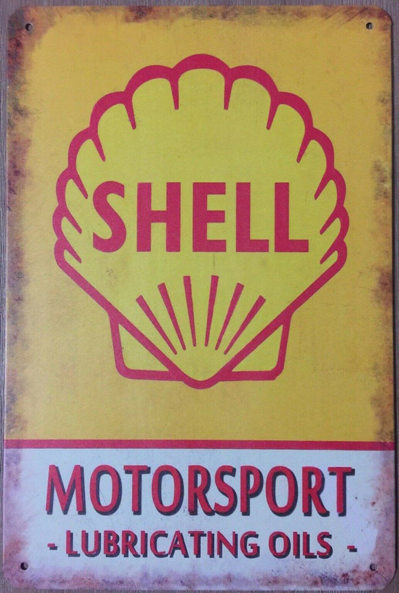 SHELL MOTOR OIL Rustic Vintage Look Metal Tin Sign Man Cave,Garage,Shed and Bar
