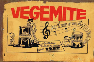Vegemite puts a smile on every face metal sign 20 x 30 cm free postage - TinSignFactoryAustralia