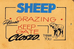 Sheep Grazing keep gate closed  metal sign 20 x 30 cm free postage - TinSignFactoryAustralia