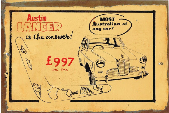Austin Lancer is the answer    metal sign 20 x 30 cm free postage - TinSignFactoryAustralia