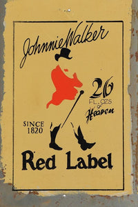 Johnnie Walker Red Label metal sign 20 x 30 cm free postage - TinSignFactoryAustralia