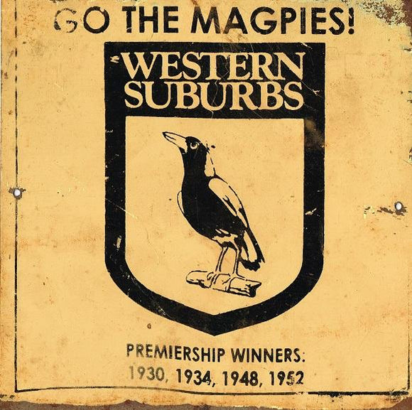 Magpies Western Suburbs   NRL Football Club Metal Sign 20x 20 cm - TinSignFactoryAustralia