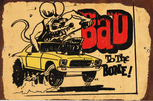 Bad to the Bone metal sign 20 x 30 cm free postage - TinSignFactoryAustralia