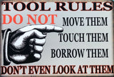 TOOLS RULES Garage Rustic Vintage Metal Tin Signs Man Cave, Shed and Bar Sign