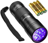 TaoTronics Black Light, UV Blacklight Flashlights, 12 LEDs 395nm, 3 Free AAA Batteries, Detector for Dry Pets Urine and Stains and Bed Bug