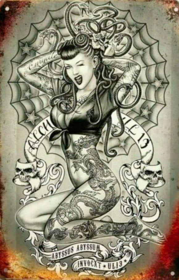 Tattoo Pin-up Lady tin metal sign MAN CAVE brand new