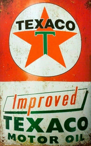 Texaco Improved Motor Oil tin metal sign MAN CAVE brand new