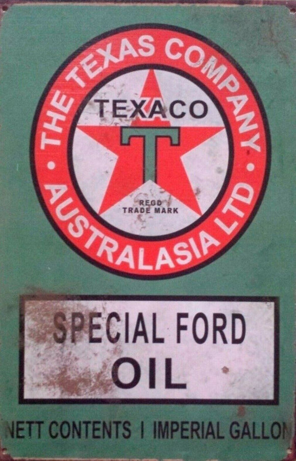 Texas Special Ford Oil tin metal sign MAN CAVE brand new