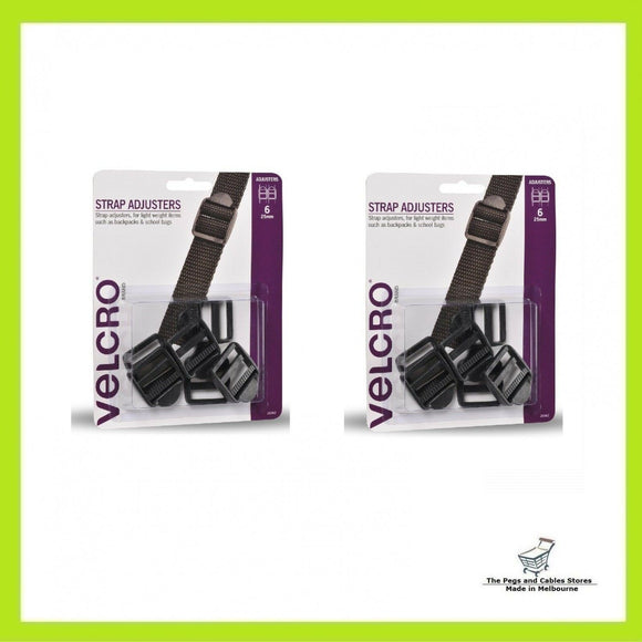 VELCRO® Brand 25mm Black Strap Adjusters - 12 Pack