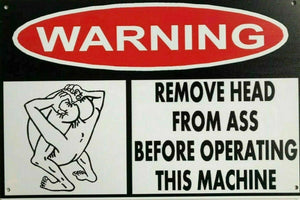 Warning Remove Ass From Head tin metal sign MAN CAVE brand new