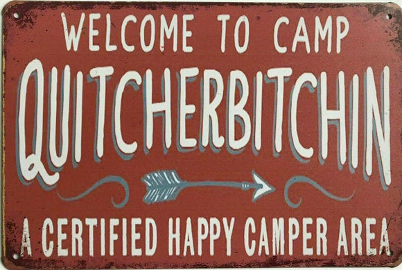 Welcome To Camp tin metal sign MAN CAVE brand new