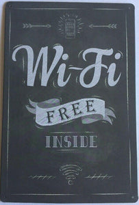Wifi Free Garage Rustic Vintage Metal Tin Signs Man Cave, Shed and Bar Sign