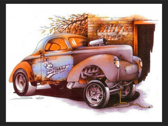Willys gasser race hot rod rat rod brand new tin metal sign MAN CAVE 40x30cm