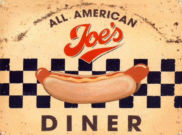 Joe's All American Diner Tin Sign 40x30cm free postage - TinSignFactoryAustralia