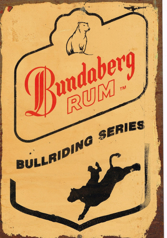 Bundy  Rum  Bull rider metal sign 20 x 30 cm free post - TinSignFactoryAustralia
