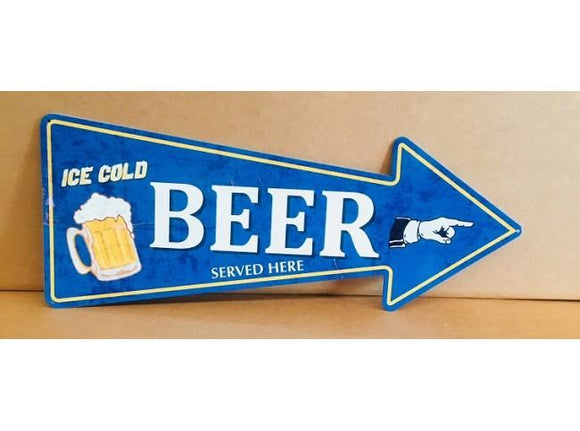 ICE COLD BEER ARROW TIN METAL SIGN  free postage - TinSignFactoryAustralia