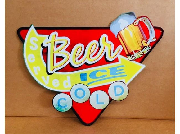 Ice Cold Beer Retro metal tin sign Served here bar man cave garage - TinSignFactoryAustralia