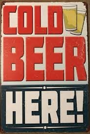 COLD BEER HERE Vintage Rustic Look Garage Metal Tin Sign Man Cave,Shed and Bar