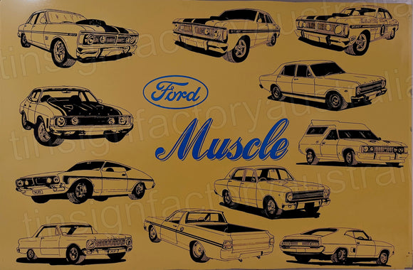 Ford Muscle Rusty Retro Man Cave Vintage Rusty Rustic Metal Sign Extra Large