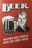 BEER Rustic Garage Rustic Metal Tin Signs Man Cave, Shed and Bar Sign