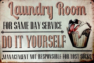 Laundry Room Rustic Look  Tin Metal Sign  Man Cave  Quality Handmade