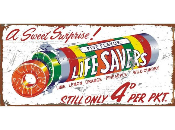 Large Lifesavers Metal tin sign Man cave bar Garage Lollies Confectionary free postage - TinSignFactoryAustralia