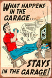 my garage my rules what happens here stays here man cave new metal sign