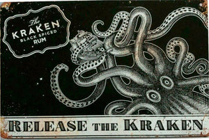 release the kraken black spiced Rum new tin metal sign MAN CAVE free postage