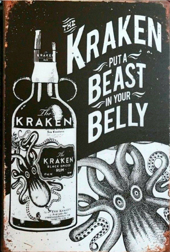 the kraken black spiced Rum new tin metal sign MAN CAVE