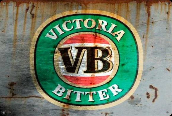 VB Vic  Rustic Look  Tin Metal Sign  Man Cave  Quality Handmade