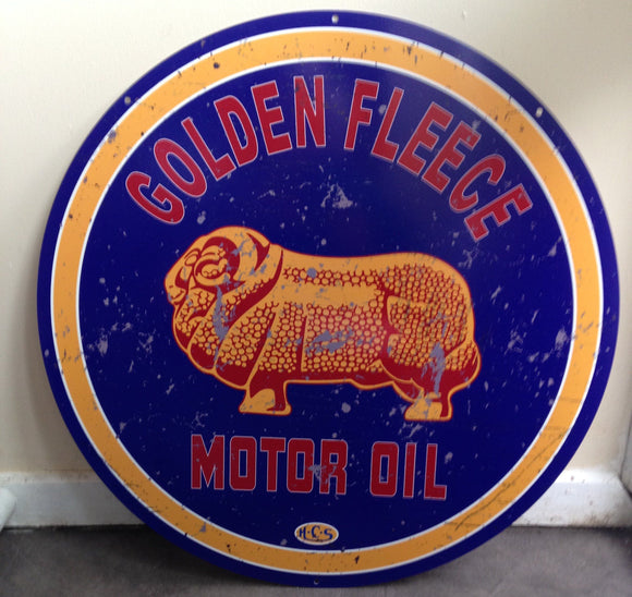 Golden Fleece Round sign free postage   560 mm - TinSignFactoryAustralia