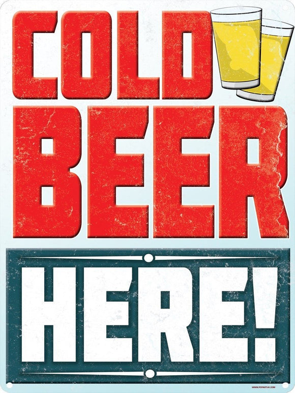 Cold Beer Here! Tin Sign free postage 30 x 40 cm - TinSignFactoryAustralia