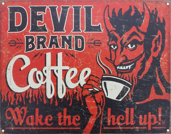 Devil Brand Coffee Red Tin Sign 32x41.5cm free postage - TinSignFactoryAustralia