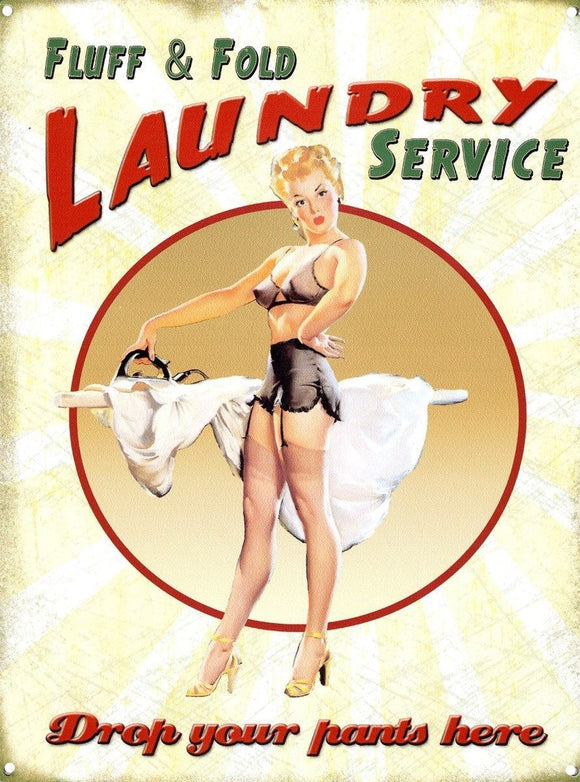 Drop Your Pants Here Laundry Service Metal Tin Sign free postage 30x 40 cm - TinSignFactoryAustralia