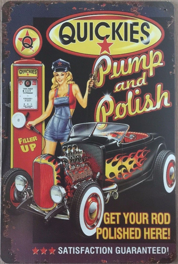 PUMP & POLISH Retro Vintage Metal Tin Sign 20 x 30 cm free postage