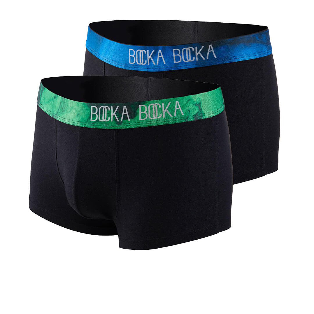 Mannequin photos of the Bocka Bocka Onde and Primavera Midnight mens designer trunks