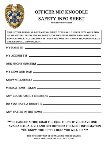 Officer Nic's Safety Info Sheet Download