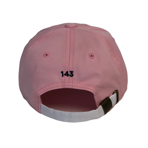 For Kids-Light Pink Hat with Navy Needlepoint Embroidered CG