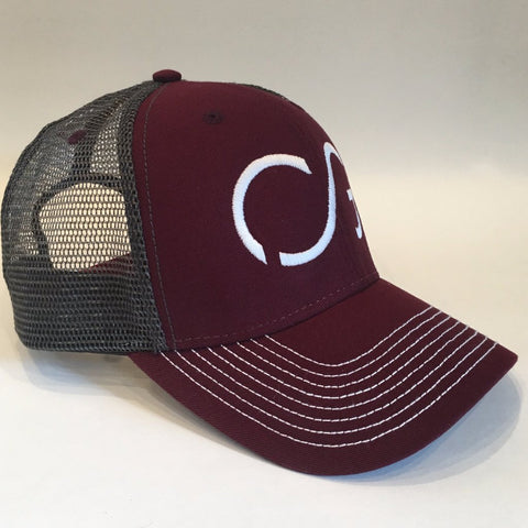 Maroon/Dark grey mesh with white direct 3D embroidery CG