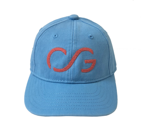 Coast Blue Baseball Cap with Nantucket Red Needlepoint Embroidered CG (adult sized)
