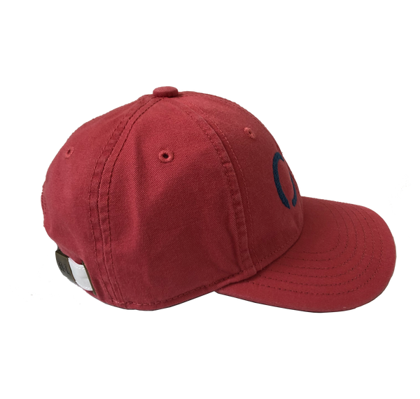 New England Red Baseball Cap with Blue Needlepoint Embroidered CG (adult sized)