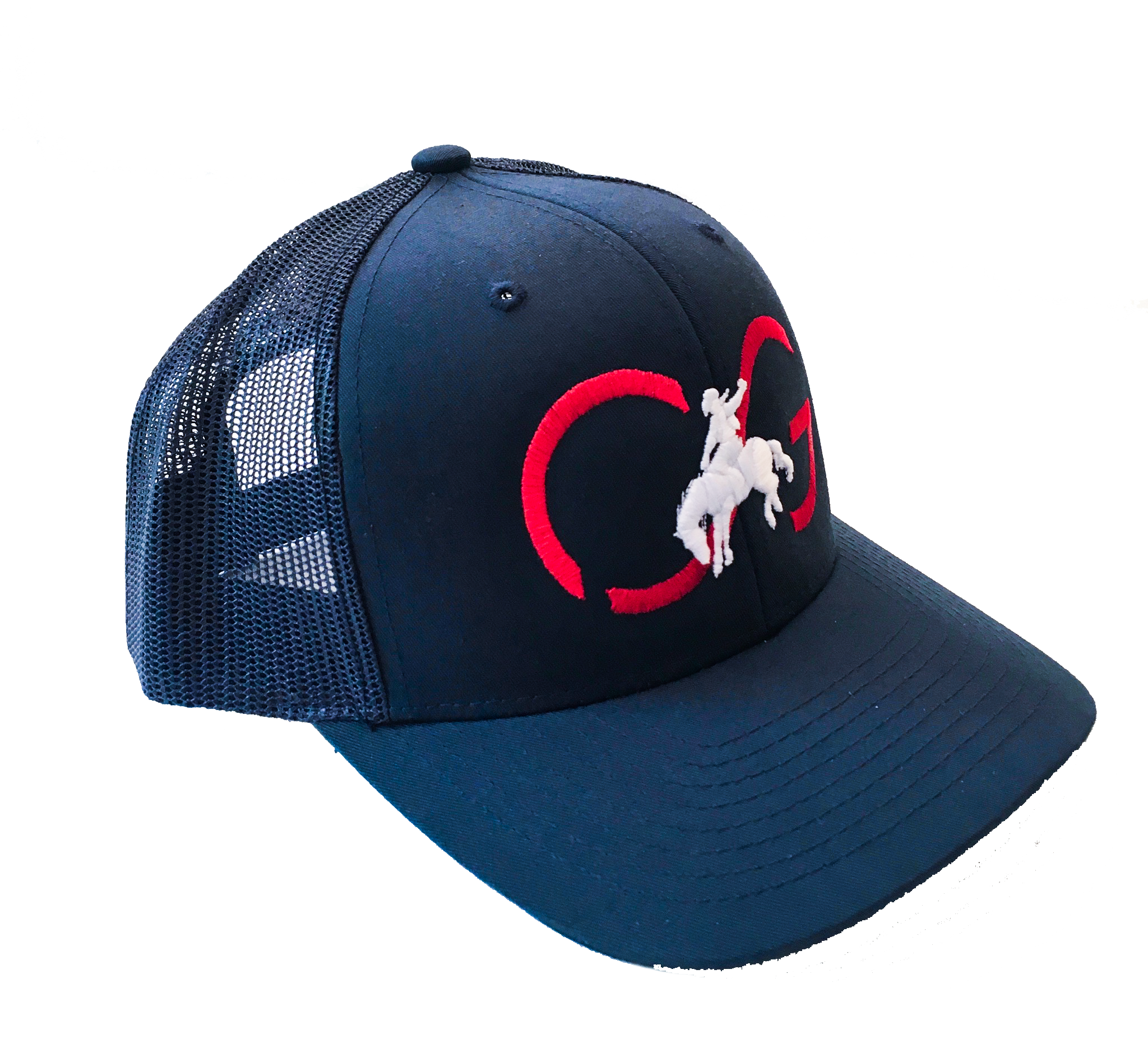 Classic SNAPBACK -Navy/Mesh back with Red CG and White Bronco