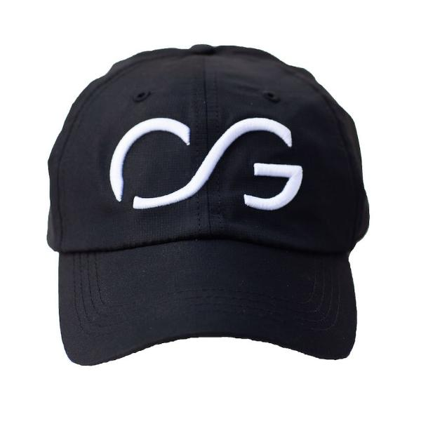 Black athletic hat with White 3D embroidery CG
