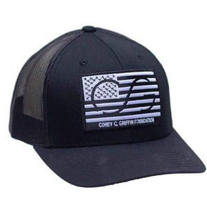 Flag SNAPBACK - Black front with black mesh back. Flag on front and COREYFEST on back