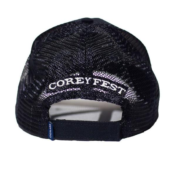 Trucker hat- soft mesh sideline cap- Black front and back with gray CG