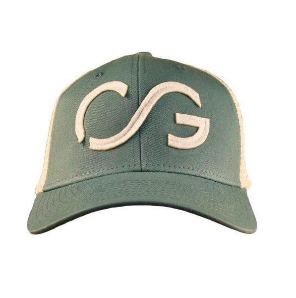 Trucker hat- soft mesh sideline cap- Harbor front with white CG and natural mesh