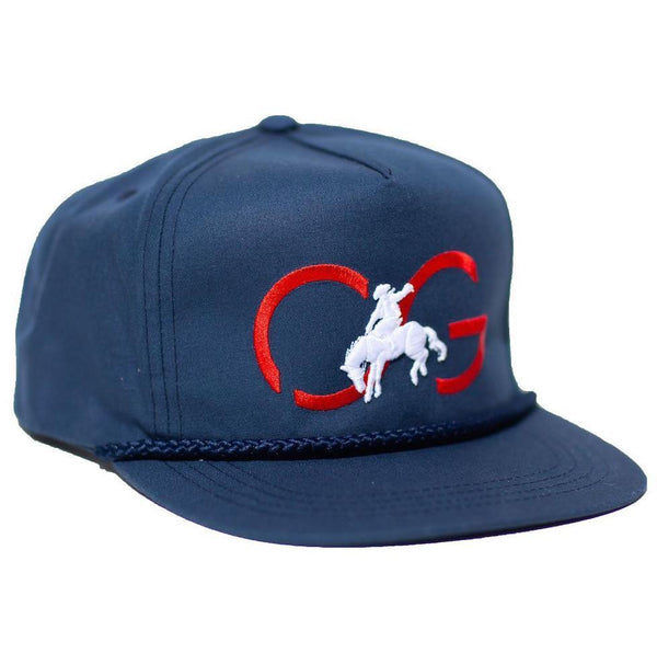 Flat brim, snap back - Navy with braid on visor & bronco